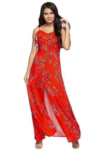 Womens Spaghetti Neck Floral Print Maxi Dress