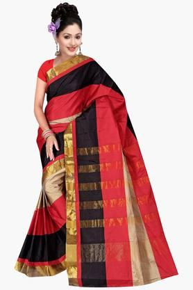 Women Poly Cotton Plain With Zari Border Saree