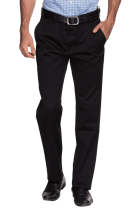 LOUIS PHILIPPE Mens Flat Front Slim Fit Solid Formal Trouser