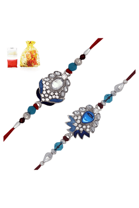 MAHI Crystal Rhodium Plated Charming Peacock Combo Of Two Rakhis