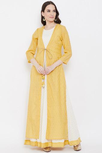 Womens Round Neck Printed Maxi Dress with Jacket