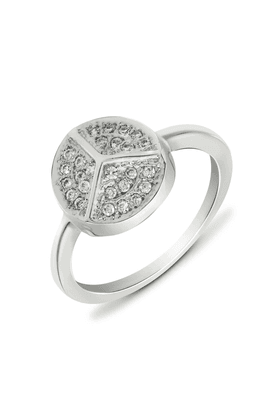 MAHI Mahi Rhodium Plated Peace Round Fingering With CZ For Women FR1100109R