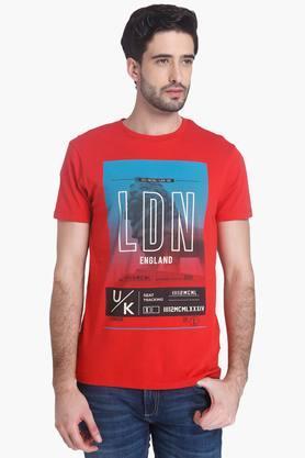 Mens Slim Fit Printed Round Neck T-Shirt