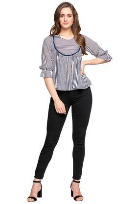 Womens Round Neck Stripe Gathered Front Top