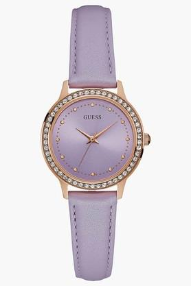 GUESS Rose Gold Tone Genuine Leather Chelsea Watch W0648L14