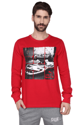 PUMA Mens Round Neck Full Hand T-Shirt (Use Code FB15 To Get 15% Off On Purchase Of Rs.1200)