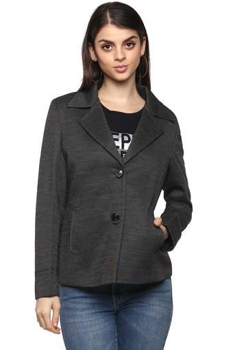 Womens Notched Lapel Self Printed Coat