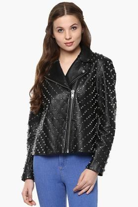 THE VANCA Womens Solid Metal Studded Bikers Jacket