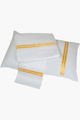 ST CLOUDWhite Yellow Sateen Ribbon King Bed Sheet Set (Bedsheet (King XL)
