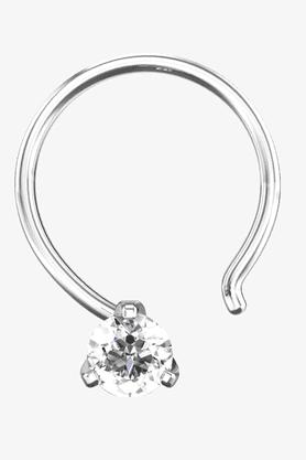 VELVETCASEWomens 18 Karat White Gold Nose Ring (Free Diamond Pendant) - 201064986