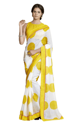DEMARCA Women Organic Linen Saree (Buy Any Demarca Product & Get A Pair Of Matching Earrings Free) - 200875655
