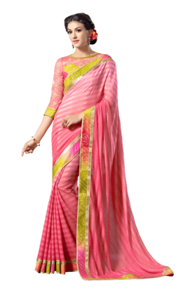 DEMARCA Women Georgette Saree (Buy Any Demarca Product & Get A Pair Of Matching Earrings Free) - 200875652