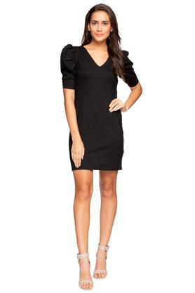 Womens V Neck Solid Bodycon Dress
