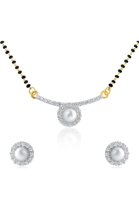 MAHI Gold Plated Pearl Round Mangalsutra Set With CZ & Pearl For Women NL1101870G