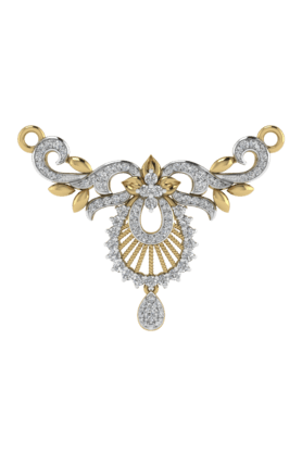TARA JEWELLERS Womens 18 Karat Gold And Diamond Mangalsutra Pendant