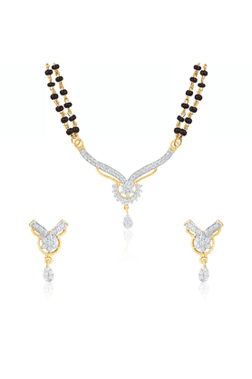 MAHI Mahi Gold Plated Timeless Touch Mangalsutra Set With CZ For Women NL1103605G2