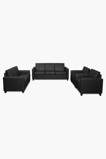 Misty Grey Leatherette Sofa (3-2-1-1 Sofa Set)