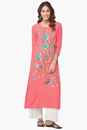 GLOBAL DESI Womens Round Neck Printed Kurta - 202452191
