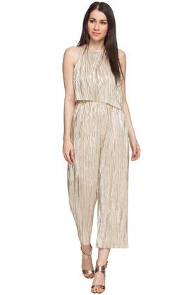 Womens Round Neck Shimmer Jumpsuit