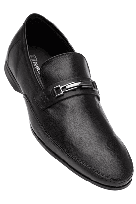 FRANCO LEONE Mens Black Formal Leather Slipon Shoes