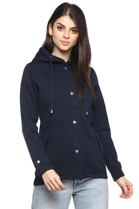 Womens Hooded Neck Solid Jacket