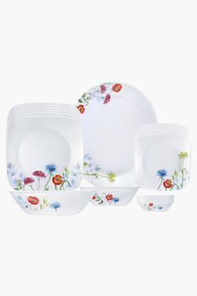CORELLE Square Round Gold Daisy Field 21 Pcs Dinner Set