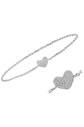 SPARKLESHis & Her Collection Diamond Bracelets In 925 Sterling Silver And Real Diamond - 0.15 Cts
