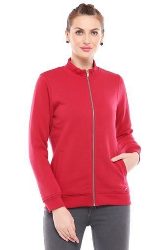 Womens Zip Through Neck Solid Sweatshirt