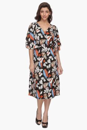 Womens V Neck Printed Flared Dress