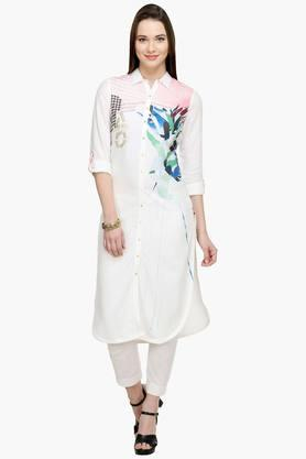 W Womens Collared Printed Shirt Kurta
