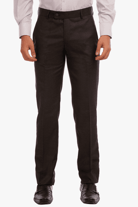 LEO Mens FLat Front Slim Fit Solid Trousers