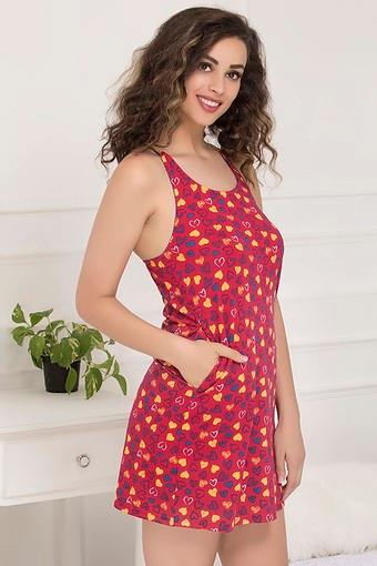 Womens Round Neck Printed Night Dress