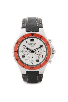 Mens White Dial Leather Chronograph Watch - R3271611045