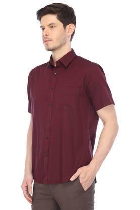 Mens Slim Collar Slub Casual Shirt