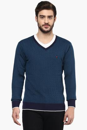 LOUIS PHILIPPE SPORTSMens V Neck Stripe Sweater - 201253798