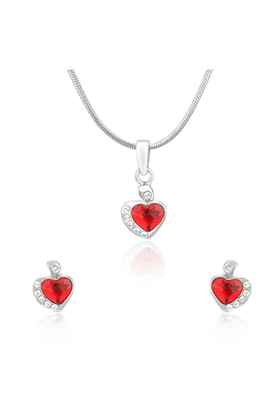 MAHI Mahi Rhodium Plated Red And White Heart Pendant Set Made With Swarovski Elements For Women NL1104116RRed