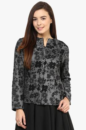 Womens Notched Neck Embroidered Winter Jacket