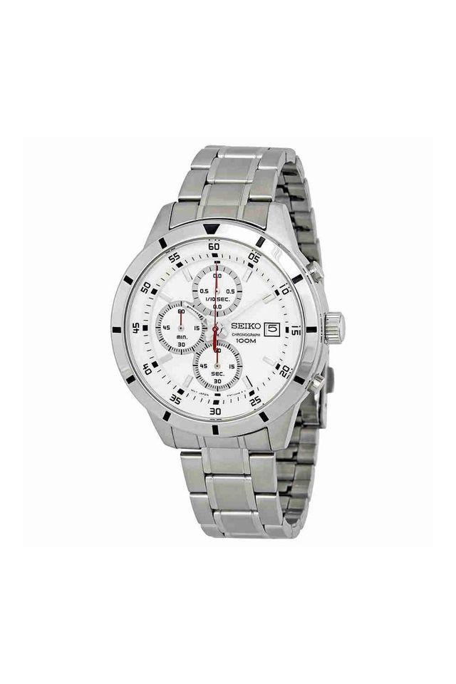 Mens White Dial Stainless Steel Chronograph Watch - SKS557P1