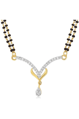 MAHIMahi Gold Plated Reverence Mangalsutra Pendant With CZ For Women PS1191950G2