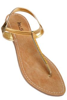 INC.5 Womens Golden Flat Sandal