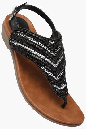 LEMON & PEPPERWomens Party Ankle Buckle Closure Flat Sandal - 201202168