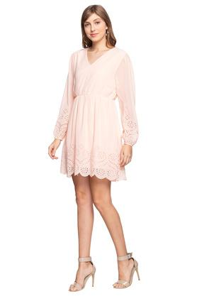 Womens V Neck Solid Eyelet Layered Skater Dress