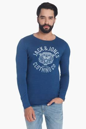 JACK AND JONES Mens Full Sleeves Round Neck Printed Pullover