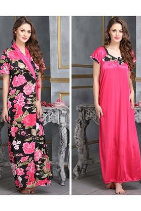 X CLOVIA 2 Pcs Printed Satin Nightwear   - Robe   Nightie c09776e5b