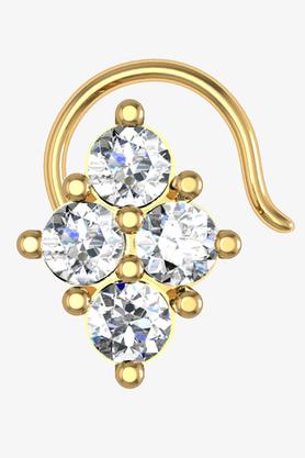 VELVETCASEWomens 18 Karat Yellow Gold Nose Ring (Free Diamond Pendant) - 201065092
