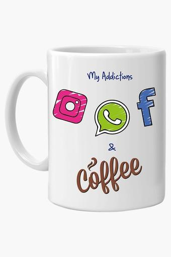 Multi Color Addiction Printed Ceramic Coffee Mug