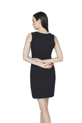 Womens Zip Through Neck Slub Shift Dress