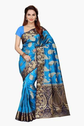 ISHIN Womens Poly Silk Brocade Saree