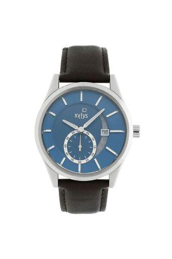 Mens Blue Dial Leather Analogue Watch - 40024SL02E