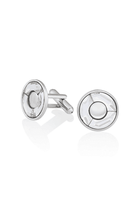 MAHI Mahi Rhodium Plated White Round Cufflink Made With Swarovski Elements For Men CL1100203RWhi
